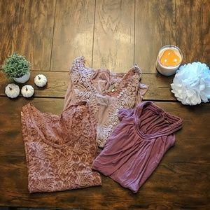 Bundle of light rose shirts